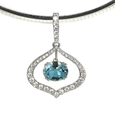 March Birthstone, Aquamarine Tear Drop Necklace