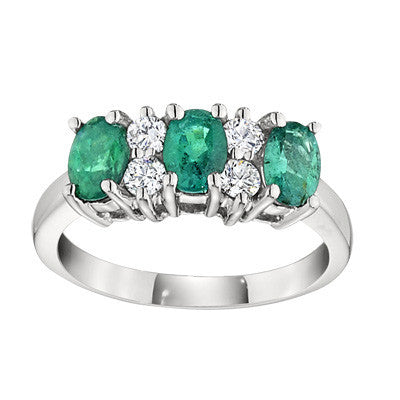 may birthstone jewelry, may birthstone ring, three stone rings, emerald birthstone, emerald ring, emerald jewelry, gemstone rings, made in USA jewelry, emerald and diamond ring