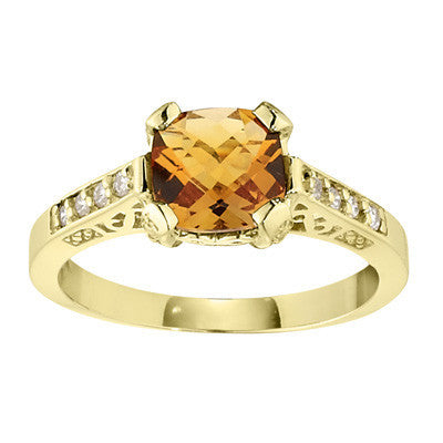 vintage stle ring, antique style ring, citrine and diamond cushion cut ring, antique style rings