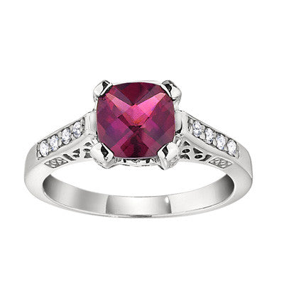 vintage stle ring, antique style ring, rhodolite and diamond cushion cut ring, antique style rings