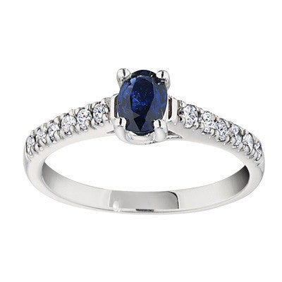 September birthstone, classic sapphire ring with dimaond sides, diamond and sapphire ring, sapphire ring with diamond band, made in USA jewelry