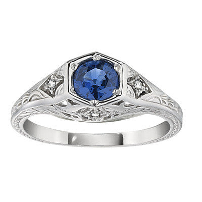 September birthstone, antique style engagement rings, sapphire engagement rings, vintage style ring, antique style ring, sapphire and diamond ring, antique style rings