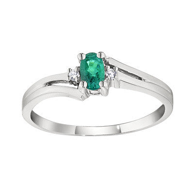 may birthstone, birthstone jewelry, emerald birthstone, emerald and diamond ring, fine gemstone starter jewelry, emerald ring, split bypass ring