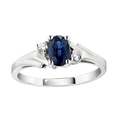 September birthstone, sapphire and diamond three stone rings, sapphire rings, classic sapphire rings, made in USA jewelry