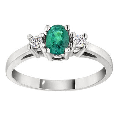 emerald and diamond three stone rings, emerald rings, classic emerald rings, may birthstone jewelry, emerald birthstone
