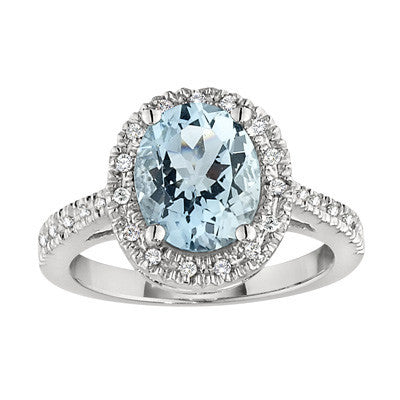 March Birthstone, Aquamarine Halo Ring