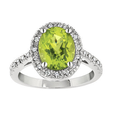 halo ring, gemstone halo pendant, fancy gemstone ring, peridot and diamond ring