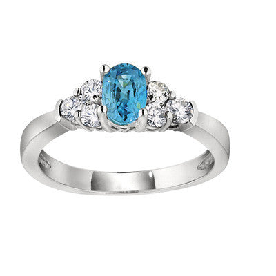 three stone accent ring, blue zircon and diamond ring, gemstone and diamond ring, made in USA jewelry
