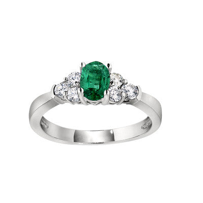 may birthstone jewelry, emerald birthstone ring, three stone accent ring, emerald and diamond ring, gemstone and diamond ring, made in USA jewelry