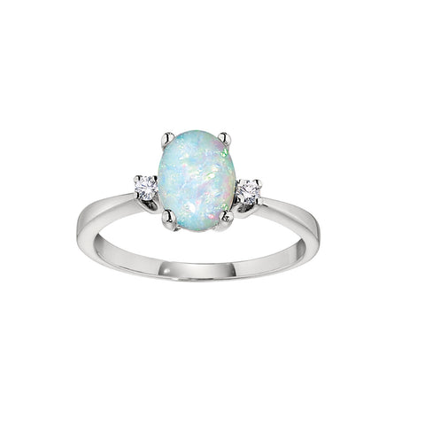 Opal Birthstone Ring, Classic Birthstone Rings in Opal, Opal and Diamond Ring, Oval Opal Ring with Diamonds