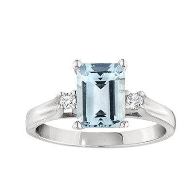 March Birthstone, Emerald Cut Aquamarine Ring