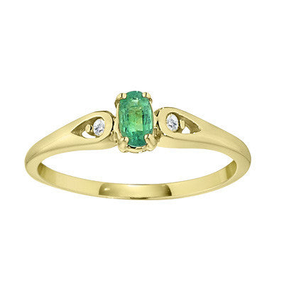 may birthstone jewelry, may birthstone ring, emerald birthstone, emerald ring, tear drop sided emerald ring, simple emerald ring with diamonds