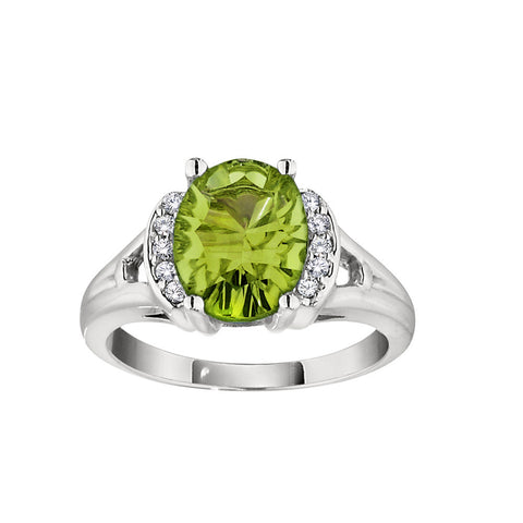 Concave Cut Large Peridot Ring with Diamonds