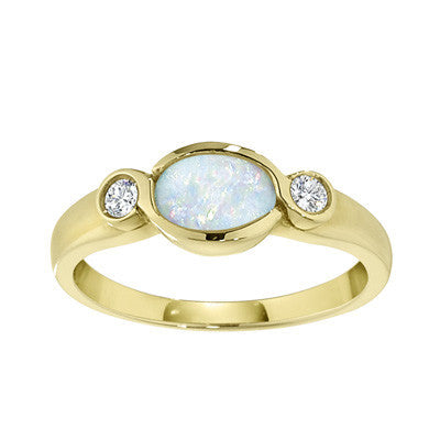 modern opal ring, east west opal ring, bezel opal ring, opal and dimaond contemporary ring