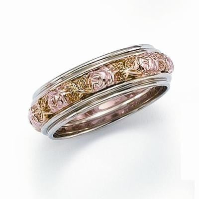 Pink and Green Flower Wedding Ring with Ornate Rims Bellas Fine