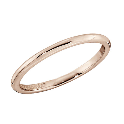Rose Gold 1.5mm Low Domed Solid Gold Wedding Band