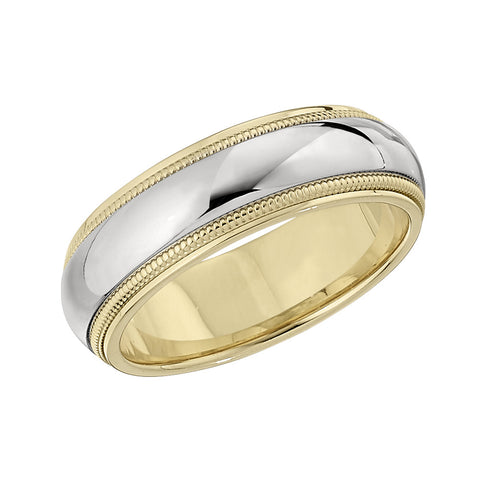 Two Tone Wedding Band in 18K Yellow and White by Jabel