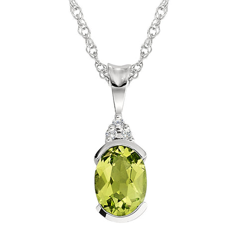 Peridot Semi-Bezel Pendant with Diamonds