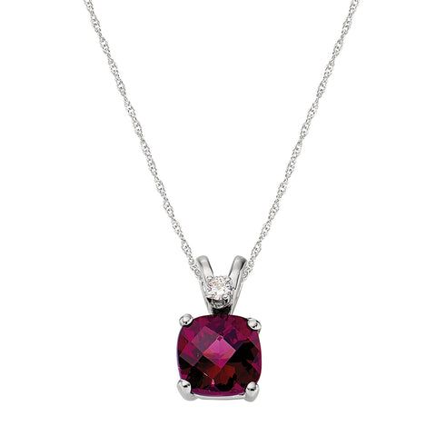cushion garnet rhodolite pendant with diamond