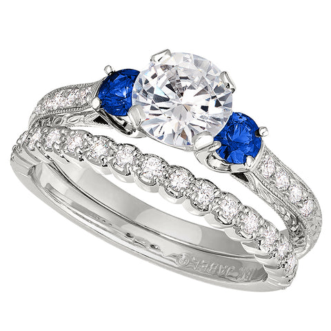 antique style engagement rings, sapphire engagement rings, vintage style engagement rings, hand engraved engagement rings