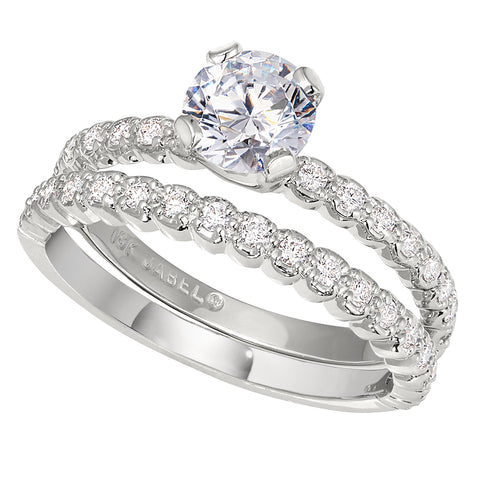 classic bridal set with matching wedding bands to a diamond band engagement ring setting