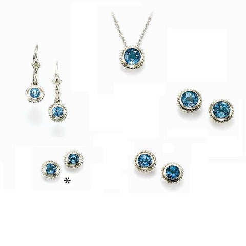 Blue Topaz Larger Bezel Set Rope Edge Earrings in 14K WHITE GOLD