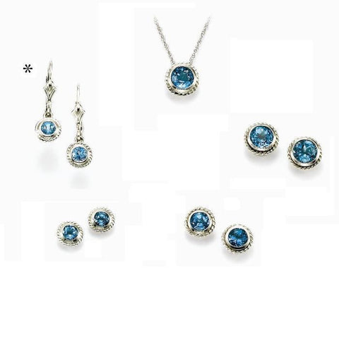 14K Blue Topaz Bezel Set Rope Edge Dangle Earrings