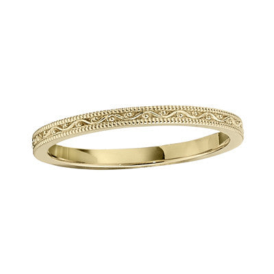 Stackable Vintage Style Wedding Rings In Yellow Gold Bella S Fine