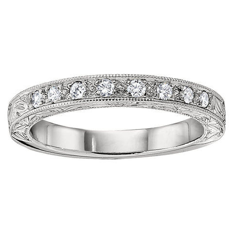 Modern Vintage Hand Engraved 8 Diamond Bead Set Wedding Band with Millgrain
