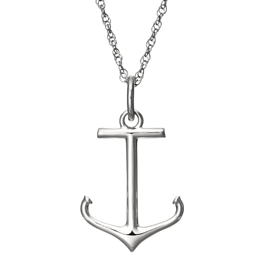 Sterling silver anchor pendant on 18 silver chain with spring ring sterling silver anchor pendant on 18 silver chain with spring ring closure aloadofball Gallery