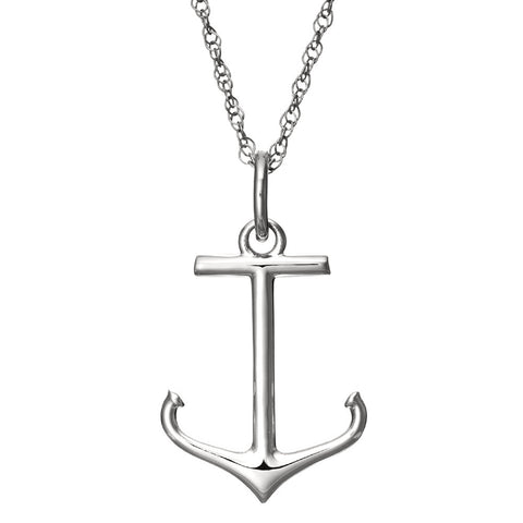 "Sterling Silver Anchor Pendant on 18"" Silver Chain with Spring Ring Closure"