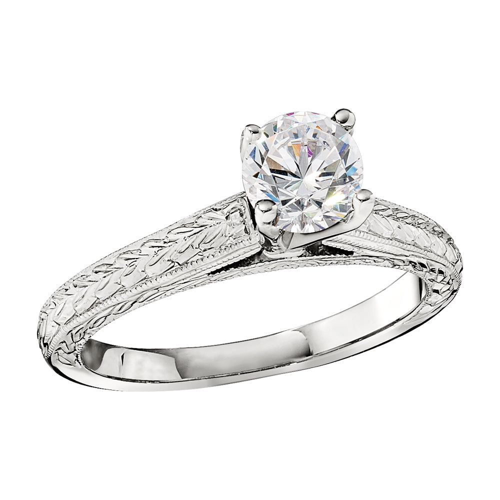 Vintage Style Solitaire Engagement Rings Hand Engraved Cathedral