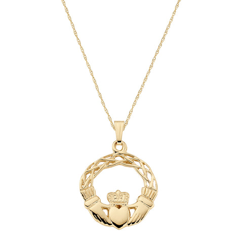 Claddagh Weave Necklace in 14K Yellow Gold- Small Version