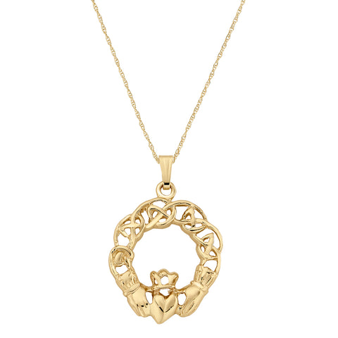 Claddagh Weave Necklace in 14K Yellow Gold- Larger Version