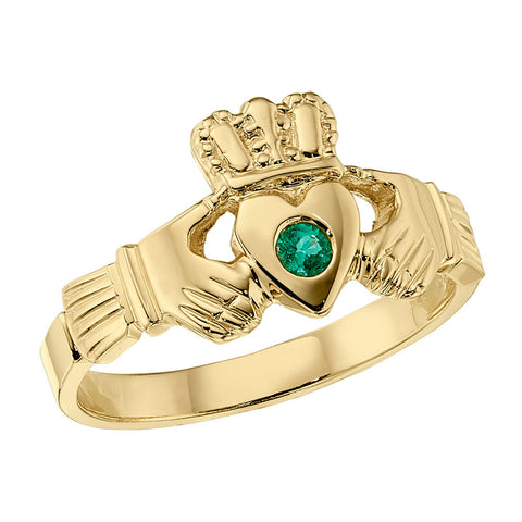 Claddagh Ring, Emerald Claddagh Ring, Celtic Jewelry