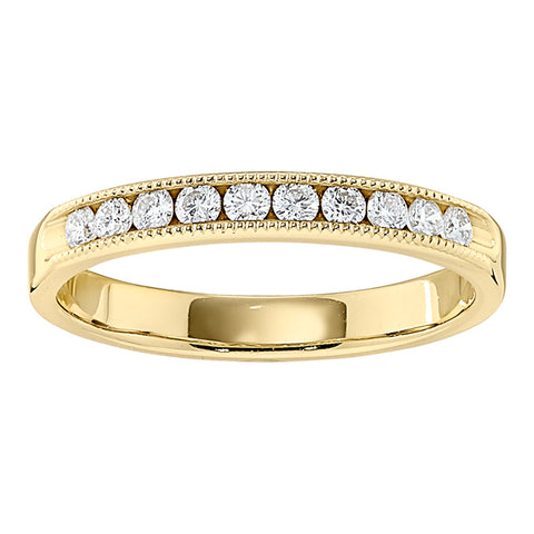 stackable fancy diamond band, millgrain gold wedding band