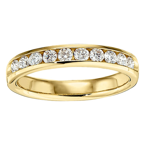 Straight Channel Set 10 Stone Wedding Band in 14K Yellow Gold (.50 Carats Total)