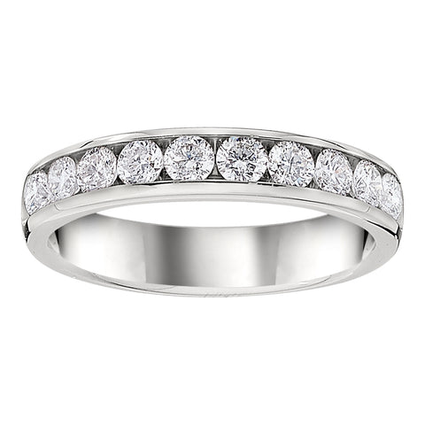 white metal band with diamonds in it, channel diamond band