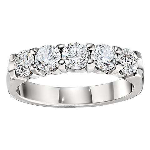 Five Diamond Common Prong Wedding Band (1.25 Carat Total Weight)