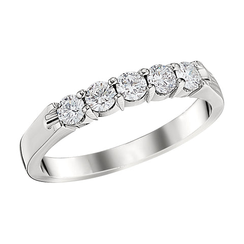 five stone diamond bands, simple diamond bands, stackable diamond bands, plain diamond bands