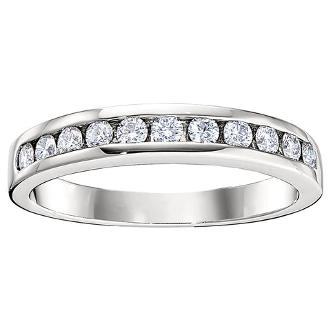 11 Stone Straight Channel Set Wedding Band