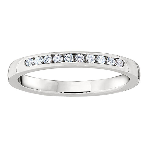 Petite 10 Stone Channel Set Wedding Band in 18K