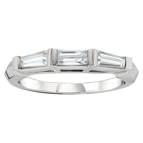 Triple Baguette Ring in 18K White Gold