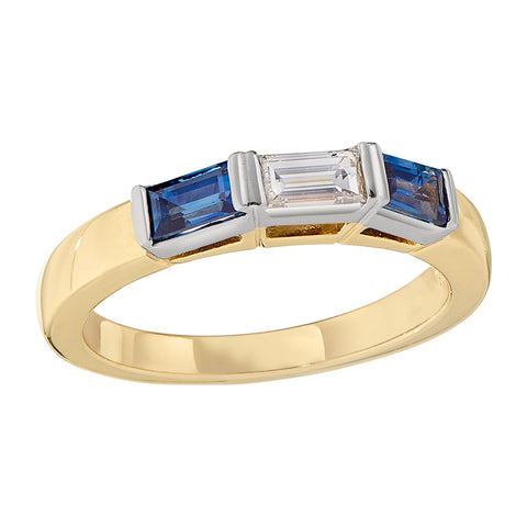 Sapphire and Diamond Baguette Band in 18K