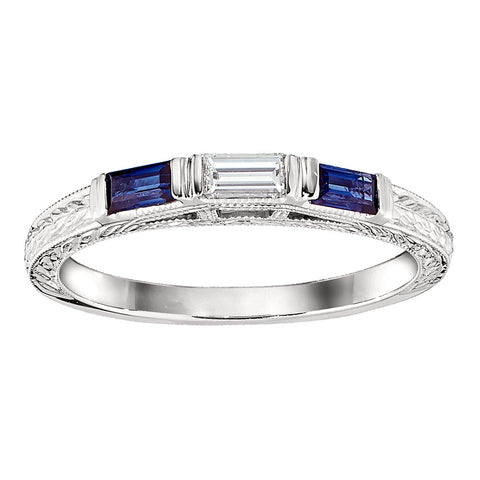 Sapphire and Baguette Diamond Vintage Wedding Band