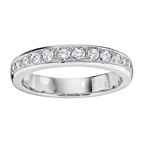 Bead Set Tapered Wedding Band in 18K White Gold