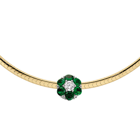Emerald and Diamond Slide, May birthstone jewelry, emerald birthstone