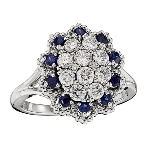 September birthstone jewelry, sapphire engagement ring, diamond cluster ring