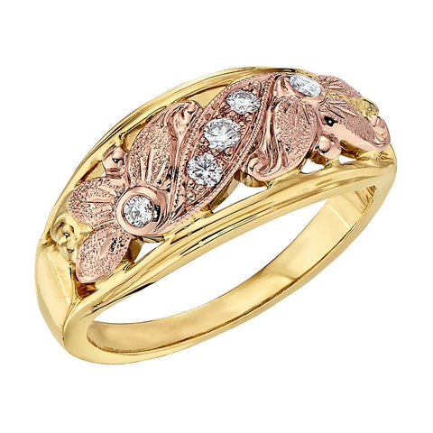 Vintage Wedding Bands, Rose Gold Wedding Band, Flower Wedding Ring
