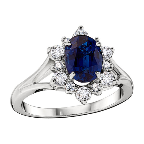 September birthstone jewelry, Sapphire halo ring